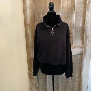 Divided  Half Zip Sweatshirt, Black